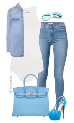 """True Blue"" by efiaeemnxo ❤ liked on Polyvore featuring 7 For All Mankind, Rick Owens, Hermès, Calvin Klein Jeans, Christian Louboutin and Ray-Ban"