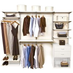 Neatly organize your walk in closet or wardrobe any way you want with the versatile White freedomRail Closet Shelving System.