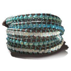 Wrap Bracelet in Antique Brown & Turqoise