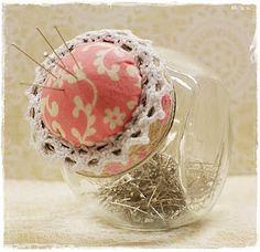 cute pink pin cushion jar
