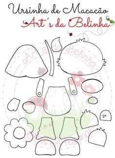 Eu Amo Artesanato: Ursinhos em eva com moldes Felt Dolls, Paper Dolls, Felt Doll Patterns, Bear Felt, Felt Quiet Books, 3d Cards, Foam Crafts, Punch Art, Cute Characters