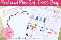 Printable Pretend Play Set: Dress Shop from LearnCreateLove.com