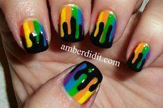 Dripping Rainbow nail art. #amberdidit