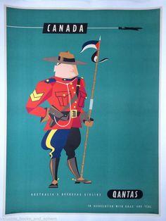 Original Travel Poster Canada Qantas BOAC TEAL 39x29 Vintage Airline Art Linen #Vintage