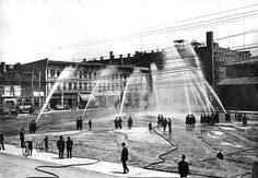 Fire Department hose test at London market 1912