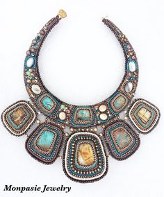 Seed Bead Embroidered Statement Necklace. Egyptian style necklace. Beads and…