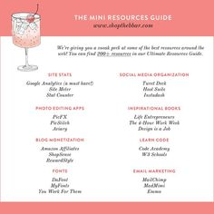 the mini resources guide - shopthebbar.com | The B Bar Resources Guide | Blogging Guide