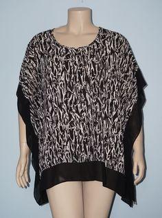 Pure Energy 2x/3x Black & White Printed Kimono Sleeve Caftan Poncho Blouse Top #PureEnergy #Blouse #Casual