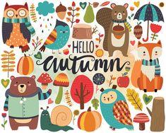 Autumn Woodland Clipart Fall Clipart Autumn by KennaSatoDesigns