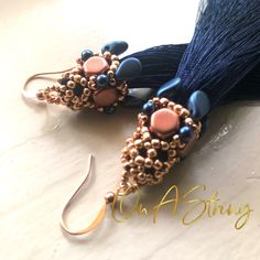 Navy Tassels adorned with rose gold and coppery tones Moon Jewelry, Tassel Jewelry, Boho Necklace, Cute Jewelry, Tassel Earrings, Beaded Jewelry, Handmade Jewelry, Women's Jewelry, Leather Jewelry