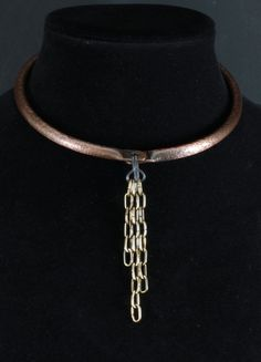 """Choker collar, rear hinge, textured copper with patina, 1/4"""" diameter, multi-chain brass closure 001 by crquack on Etsy"""