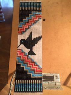 native american beadwork patters Hummingbird Totem Native American Inspired, Loom Beaded Bracelet with Leather Back and Tie Closure Loom Bracelet Patterns, Bead Loom Bracelets, Bead Loom Patterns, Peyote Patterns, Beading Patterns, Beading Ideas, Jewelry Patterns, Beading Supplies, Jewelry Ideas
