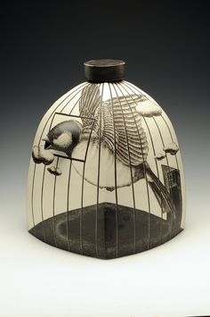 I like the way this ceramic artist waltzes back and forth between dimensions   Title: Birdcage Jar    Artist: Myungjin Kim    Date: 2010