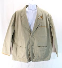 ORVIS ZAMBEZI Hunting Field Jacket Travel Sport Coat XL Leather Patches & Trim #Orvis #TwoButton