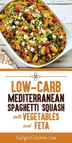 Low-Carb Mediterranean Spaghetti Squash Sauteed with Vegetables and Feta starts with roasted spaghetti squash that's combined with mushrooms zucchini Keto Recipes, Vegetarian Recipes, Healthy Recipes, Flour Recipes, Cream Recipes, Healthy Dinners, Dinner Recipes, Feta, Zucchini