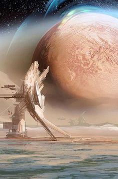 ideas sci fi concept art scenery for 2019 Cyberpunk, Arte Sci Fi, Sci Fi Art, Sci Fi Fantasy, Fantasy World, Art Pulp, Space Opera, Alien Worlds, Science Fiction Art
