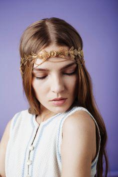 Jennifer Behr :: headwrap :: hair :: beauty :: gold :: chain :: vintage :: bride :: wedding :: bridal