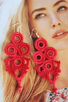 Blue earrings Earrings Blue crochet earrings Gift idea for women Long earrings Crochet statement ear Birthstone Jewelry, Gemstone Jewelry, Crochet Earrings Pattern, Ruby Earrings, Statement Earrings, Hoop Earrings, Red Gemstones, Earrings Handmade, Quilts