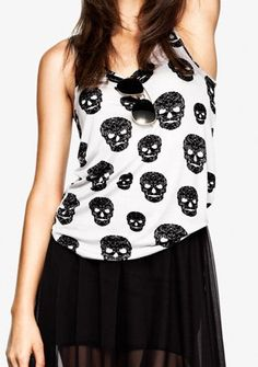 7e5d396762adf White Sleeveless Skull Print Tank T-Shirt such a cute top!  SheInside  Fashion
