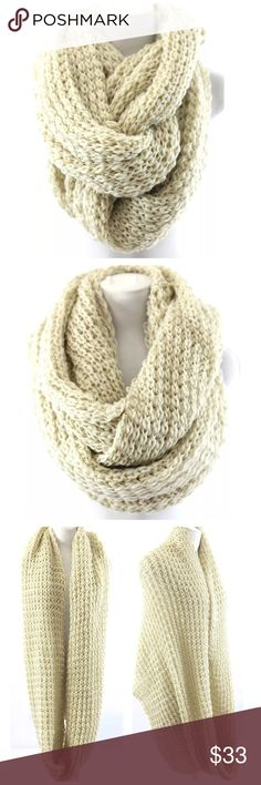 """TS Ivory Chunky Thick Warm Soft Infinity Scarf ‼️ PRICE FIRM UNLESS BUNDLED WITH OTHER ITEMS FROM MY CLOSET ‼️    Retail $67  This scarf is unbelievably chunky & soft & warm!  Photos do not do justice.  Lots of stretch to get that perfect look!  Dress up any outfit day or night.  Also available in other colors.  Please check my closet for many more scarves & items including jewelry & designer clothing.  100% polyester.  Length 23"""" (unstretched)  Width 37"""" Accessories Scarves & Wraps"""