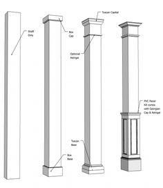 Square Fiberglass Column I Elite Trimworks House Columns, Front Porch Columns, Fiberglass Columns, Colonial, Square Columns, Porch Posts, Building A Porch, Porch Makeover, Build A Closet