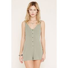 Forever 21 Women's  Button-Front Crepe Romper ($16) ❤ liked on Polyvore featuring jumpsuits, rompers, forever 21 romper, v neck romper, white rompers, sleeveless romper and playsuit romper