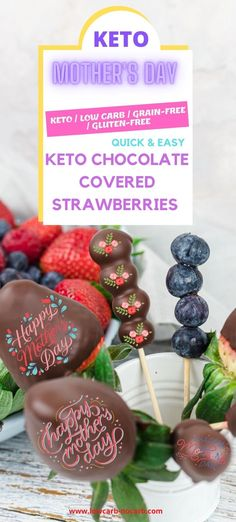 Mothers Day Keto Chocolate Covered Strawberries for a special occasion as a Keto Brunch. Learn How To Make Keto Chocolate Covered Strawberries in only 15 Minutes Total Time. Our Quick and Easy, Healthy, and Sugar-Free Strawberries dipped in Chocolate are the perfect go-to Keto Dessert for any and every special occasion. Brunch Recipes, Keto Recipes, Ditch The Carbs, Chocolate Dipped Strawberries, Strawberry Dip, Keto Drink, No Sugar Foods, Food For A Crowd, Appetisers