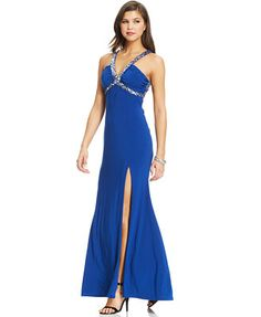 Hailey Logan by Adrianna Papell Juniors' Sequin-Trim Gown