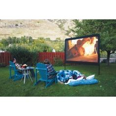 This would be so cool in our backyard!!!!!!        Backyard Outdoor Home Theater In a Box, Portable dvd Projector with Outdoor Movie Screen and Projector Stand!