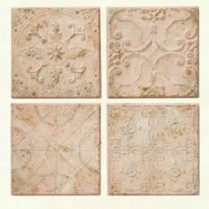 Embossed Tin Ceiling Tile Wall Decor, Set of 4