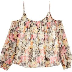 Elizabeth and James - Maylin Off-the-shoulder Floral-print... ($130) ❤ liked on Polyvore featuring tops, multi, open shoulder tops, floral tops, cut off shoulder top, cut out shoulder top and floral shirt