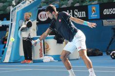 Defending champion Novak Djokovic with coach Boris Becker during a practice session ahead of 2014 Australian Open. - Ben Loke
