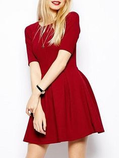 Fabulous Round Neck Plain Skater-dress