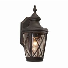 allen   roth Castine 14.41-in H Rubbed Bronze Outdoor Wall Light