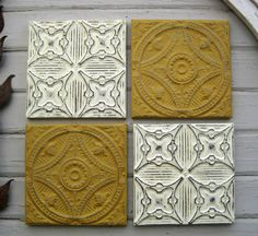 Tin ceiling tile SET of 4 12 x 12 framed tiles.  by DriveInService