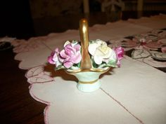 CROWN STAFFORDSHIRE CHINA MADE ENGLAND BASKET OF ROSES