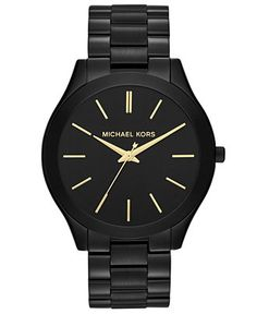 Michael Kors Women's Slim Runway Black-Tone Stainless Steel Bracelet Watch 42mm MK3221 - For Her - Jewelry & Watches - Macy's