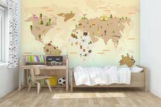Brown World Map Wall Mural Wallpaper 16 – Jessartdecoration Map Wallpaper, Kids Room Wallpaper, Self Adhesive Wallpaper, Custom Wallpaper, 3d Wall Murals, World Map Wall, Traditional Wallpaper, Color, Home Decor