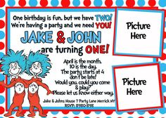 Dr Seuss Thing 1 & Thing 2 Twins Birthday by 123invites on Etsy