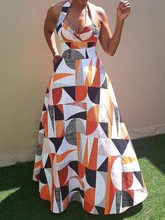 Silhouette: Expansion Dress Length: Floor-Length Sleeve Length: Sleeveless Combination Type: Single Waist Line: High Waist. African Fashion Dresses, African Outfits, African Dress, Fashion Outfits, Womens Fashion, Professional Dresses, Floor Length Dresses, Costume, Colorblock Dress