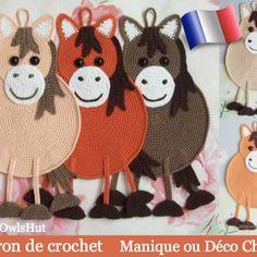 """Manique ou déco """"cheval"""", patron de crochet"""