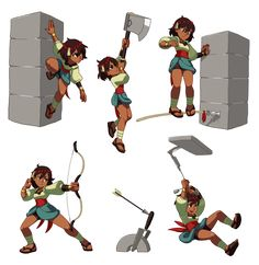 Indivisible - RPG from the Creators of Skullgirls Character Design Girl, Character Design References, Character Concept, Character Art, Concept Art, Design Steampunk, Skullgirls, Wow Art, Action Poses