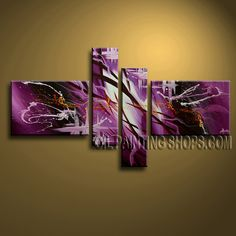 Astonishing Modern Abstract Painting Oil Painting On Canvas Panels Gallery Stretched Abstract. This 4 panels canvas wall art is hand painted by A.Qiang, instock - $155. To see more, visit OilPaintingShops.com