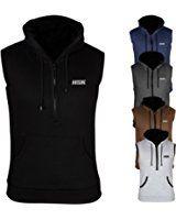 Hitsmack Plain Hoodie Sleeveless Gym Top Sweat Shirt Fleece Hood Fitness Exercise
