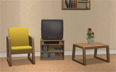 """Hi everyone. I converted more items from TS3 University Life. The set is called """"Standard Issue"""", I included all original recolors + added a few more by me. I hope you find it useful. Have a nice day. NOTE: - TV requires Apartment Life Wood recolors Fabric recolors DOWNLOAD"""