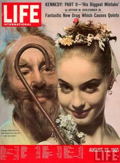"LIFE INTERNATIONAL cover 08-23-1965 Choreographer George Balanchine & dancer Suzanne Farrell in costume for the ballet ""Don Quixote"" Photographer: Gjon Mili"