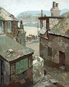 'OLD HOUSES, ST IVES, CORNWALL': Thomas Maidment b. 1871. A landscape painter who studied at the Royal College of Art (travelling scholarship). His address is listed as Ilford, Essex in 1905, and in 1910 he appears to have moved to Newlyn in Cornwall, then finally to St Ives in 1932.