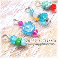 BLUES AND FLOWERS Beaded Charm Mix ... Glass by SweetlyScrappedArt