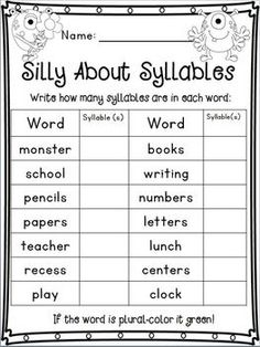 Printables Syllable Worksheets syllable clapping sporty phonics worksheets and baseball back to school monster unit with math literacy two freebies in the