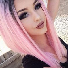 Lovely #pinkhair #pastelhair #aesthetic #ombre #makeup #eyemakeup #shadows #eyebrows #lips #beauty #beautiful #girly